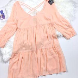 Nasty Gal Peach Cross Strapped Festival Boho Dress